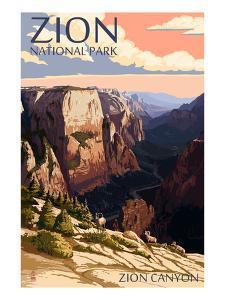 Zion National Park - Zion Canyon Sunset by Lantern Press