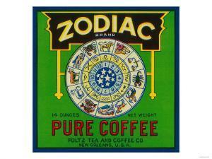 Zodiac Coffee Label - New Orleans, LA by Lantern Press