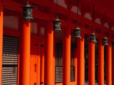 Lanterns and Red Pillars on Replica of Imperial Palace at Heian-Jingu Shrine, Kyoto, Japan-Martin Moos-Photographic Print