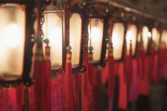 Lanterns at Man Mo Temple, Sheung Wan, Hong Kong Island, Hong Kong, China-Ian Trower-Photographic Print