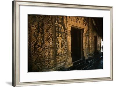 Laos, Luang Prabang, Gold Decorations on Golden City Temple--Framed Giclee Print