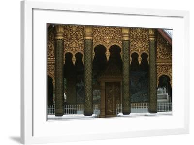 Laos, Luang Prabang, Ornate Columns at Wat That Buddhist Temple--Framed Giclee Print