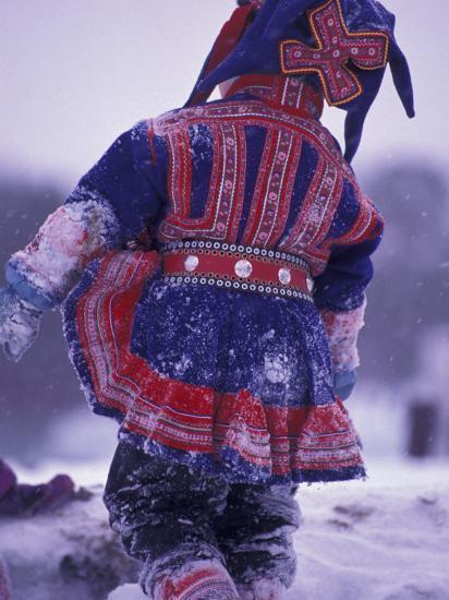 Lapp Child in Traditional Dress, Lappland, Finland-Nik Wheeler-Photographic Print