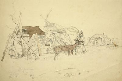 Lapps and Reindeer Beside Huts, North Norway, C.1850-Godfrey Thomas Vigne-Giclee Print