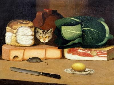 Larder Still Life with a Cat Hunting a Mouse, C.1840--Giclee Print