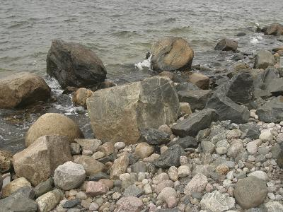 Large and Small Rocks on the Shore with Water Splashing--Photographic Print