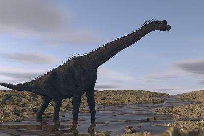Large Brachiosaurus Walking Along a Dry Riverbed-Stocktrek Images-Art Print