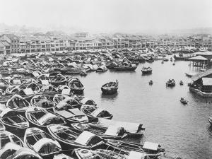 Large Collection of Boats in Singapore Harbor