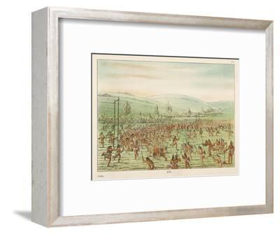 Large Crowd of Native Americans Play Lacrosse-George Catlin-Framed Giclee Print