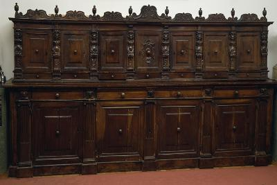 Large Finely Carved Italian Sideboard with Two Rows of Doors, 16th Century--Giclee Print