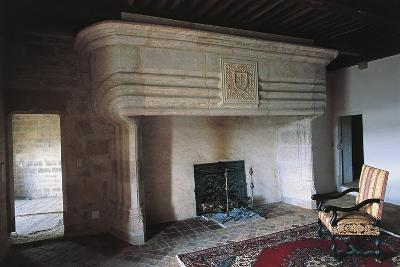 Large Fireplace, Chateau of Vaillac, Aquitaine, France--Photographic Print