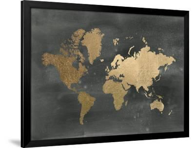 Large Gold Foil World Map on Black-Jennifer Goldberger-Framed Art Print