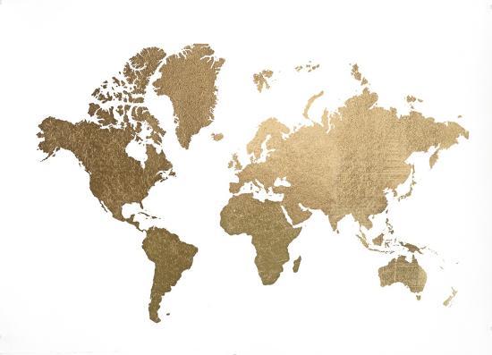 Large Gold Foil World Map Art Print By Jennifer Goldberger Art Com