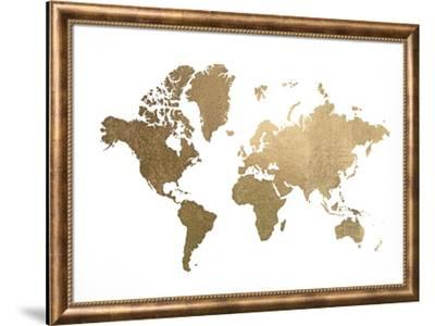 Large Gold Foil World Map-Jennifer Goldberger-Framed Art Print