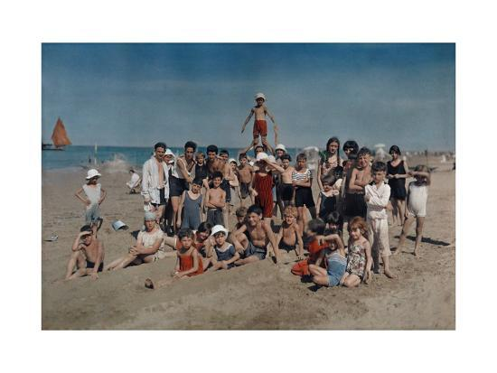 Large Group of Children Celebrate a Holiday on the Adriatic-Hans Hildenbrand-Photographic Print