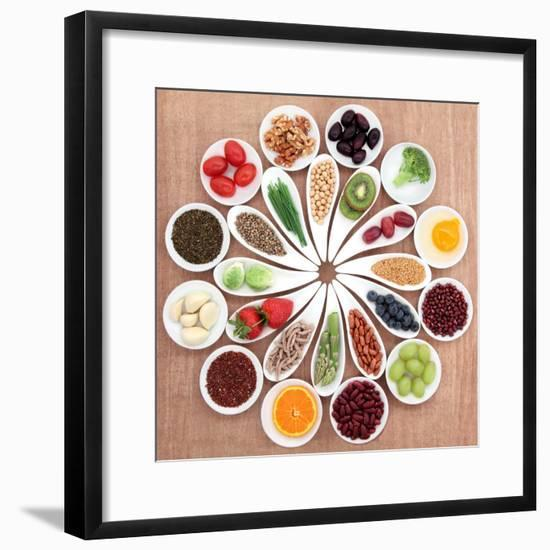 Large Health Food Selection In White Porcelain Bowls And Dishes Over Papyrus Background-marilyna-Framed Premium Giclee Print
