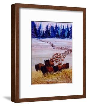 Large Herd of Bison Cross a Vast Plain-Rich LaPenna-Framed Giclee Print