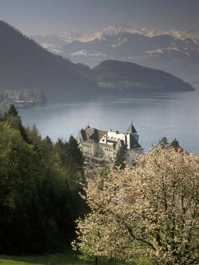 Large hotel with mountain in background, Lake Lucerne, Switzerland-Alan Klehr-Photographic Print