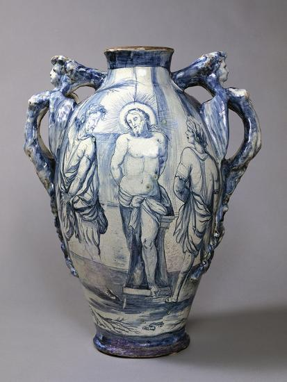 Large Hydria Decorated with Flagellation of Jesus, Ceramic, Naples Manufacture, Italy--Giclee Print