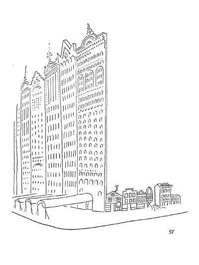 Large impressive facades stand in front of smaller homes. - New Yorker Cartoon-Saul Steinberg-Premium Giclee Print