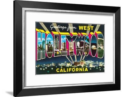 Large letter Greetings from West Hollywood, California--Framed Art Print
