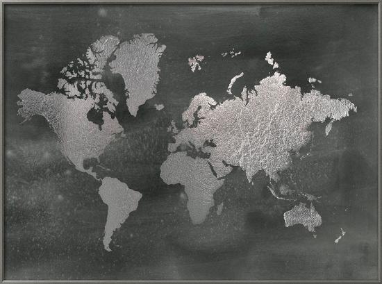 Large Silver Foil World Map On Black Framed Art Print By Jennifer