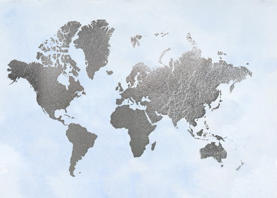 Large Silver Foil World Map on Blue-Jennifer Goldberger-Art Print