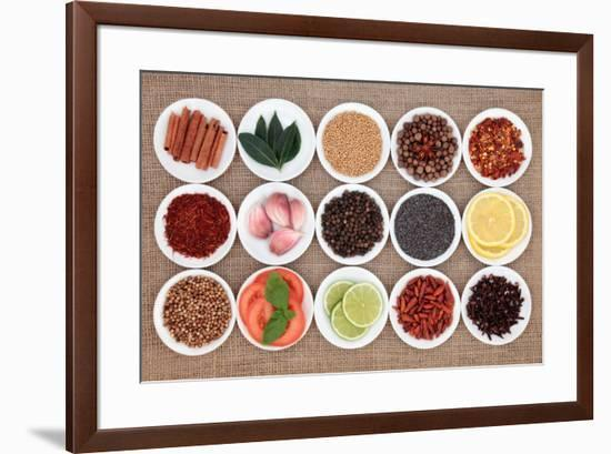 Large Spice, Herb And Food Ingredient Selection In White Porcelain Bowls Over Hessian Background-marilyna-Framed Art Print