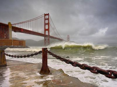 Large Storm Waves in San Francisco Bay under the Golden Gate Bridge About to Batter the Shore-Patrick Smith-Photographic Print