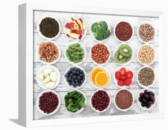 Large Super Food Selection In White Porcelain Dishes Over Distressed White Wooden Background-marilyna-Framed Stretched Canvas Print