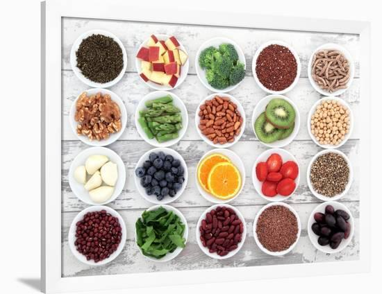 Large Super Food Selection In White Porcelain Dishes Over Distressed White Wooden Background-marilyna-Framed Premium Giclee Print