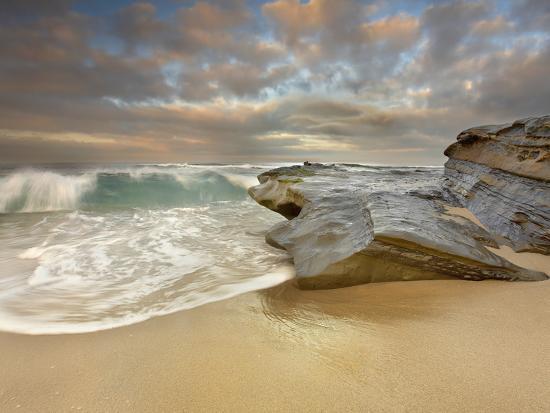 Large Waves Crashing on the Sandstone Rocks and Sandy Beach at La Jolla,  California, USA Photographic Print by Patrick Smith | Art com