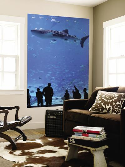 Large Whale Shark Swimming in Tank with People Below at Georgia Aquarium-Frank Carter-Wall Mural