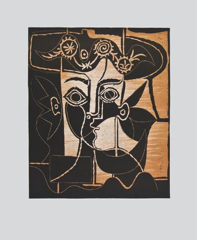 Large Woman's Head with decorated Hat-Pablo Picasso-Collectable Print