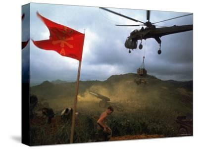 1st Air Cavalry Skycrane Helicopter Delivering Ammunition and Supplies to US Marines