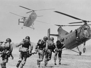 S. Vietnamese ARVN Paratroopers Running to Board 2 Ch 21 Shawnee Helicopters in Mekong Delta by Larry Burrows