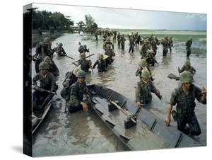 S.Vietnamese Soldiers Lure Viet Cong Guerrillas from Nearby Flooded Paddies During Vietnam War by Larry Burrows