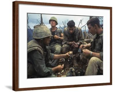 US Marines Eating Rations During a Lull in the Fighting Near the Dmz During the Vietnam War