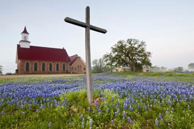 Art Methodist Church and Bluebonnets Near Mason, Texas, USA