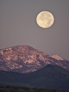 Full Moon Setting over Snow-Covered Magdelena Mountains at Socorro, New Mexico, USA by Larry Ditto