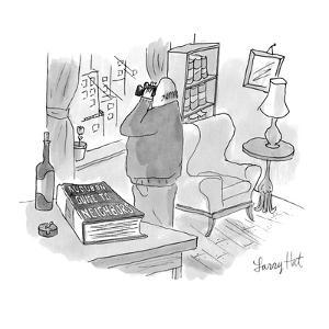 Man with binoculars looking out window. Title of book on table reads, 'Aud? - New Yorker Cartoon by Larry Hat