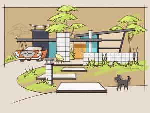 Mid-Century House #1 Chrysler Black Dog by Larry Hunter