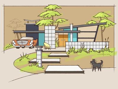 Mid-Century House #1 Chrysler Black Dog