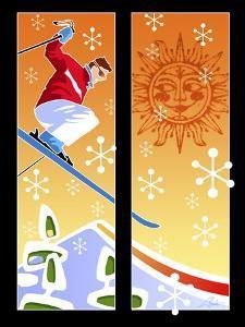 Skier Powder by Larry Hunter