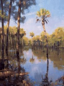 Palms on Water II by Larry Moore