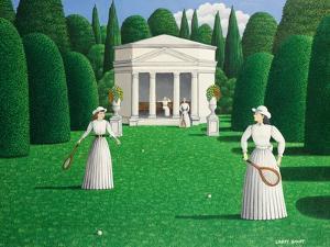 Edwardian Ladies Playing Tennis, 1978 by Larry Smart