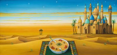 Hummus on the sands, 1992 by Larry Smart