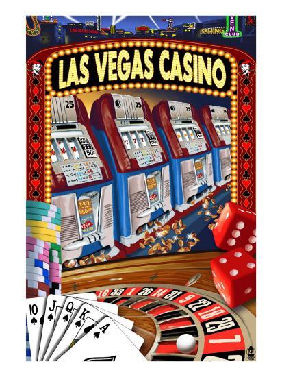 Las Vegas Casino Montage-Lantern Press-Art Print