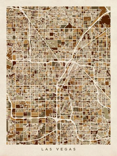 Las Vegas City Street Map-Michael Tompsett-Art Print