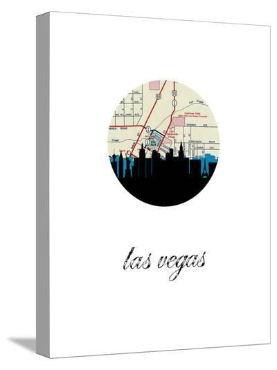 Las Vegas Map Skyline-Paperfinch 0-Stretched Canvas Print